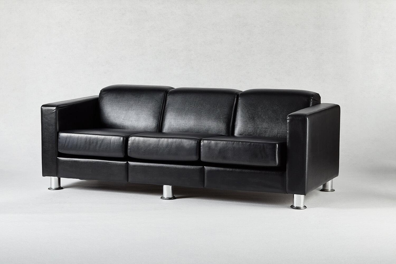 黑色三人座沙發 / 方形