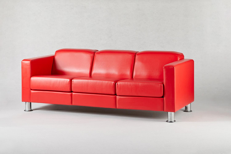 紅色三人座沙發 / 方形