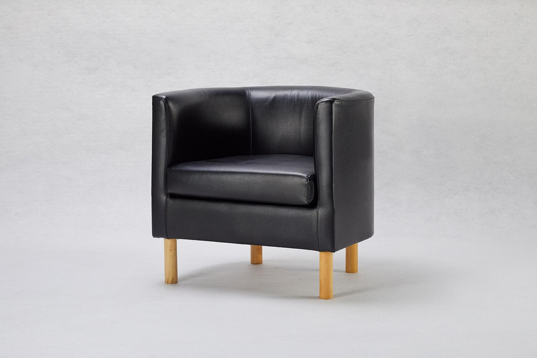 黑色U型單人小沙發