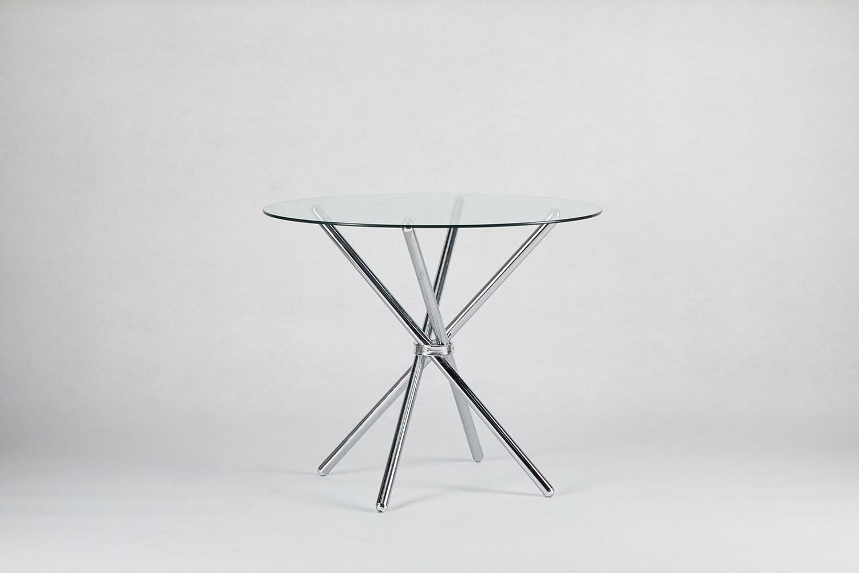 玻璃圓桌(銀)
